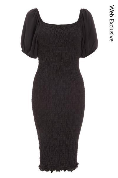 Black Ruched Puff Sleeve Midi Dress